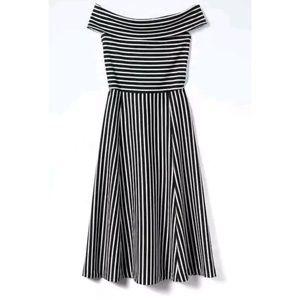 Banana Republic Black White Stripe Midi Dress